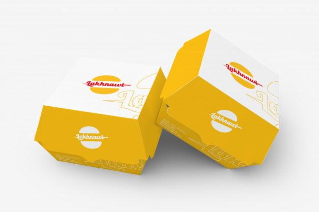 yellow burger box