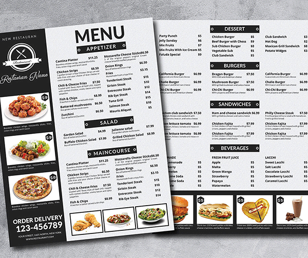 تصاویر در طراحی منو رستوران